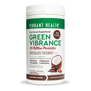 A bottle of Vibrant Health Green Vibrance Chocolate Coconut