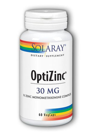 A bottle of Solaray OptiZinc 30 mg