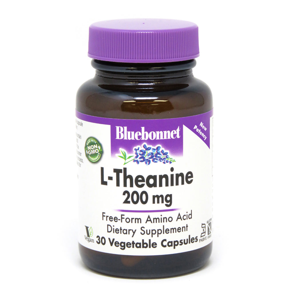 A bottle of Bluebonnet L-Theanine 200 mg
