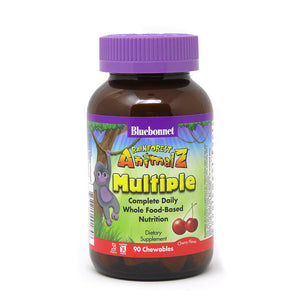 A bottle of Bluebonnet Super Earth® Rainforest Animal® Whole Food Based Multiple - Cherry