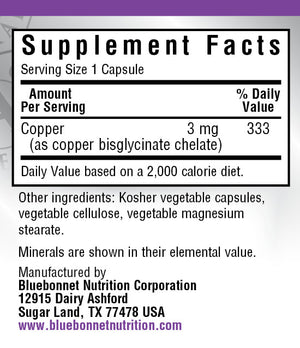 Supplement Facts for Bluebonnet Chelated Copper 3 mg