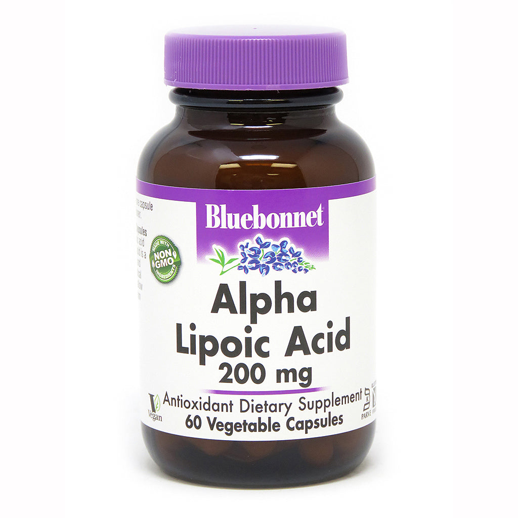 A bottle of Bluebonnet Alpha Lipoic Acid 200 Mg