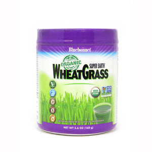 A jar of Bluebonnet Super Earth® Organic WheatGrass Powder