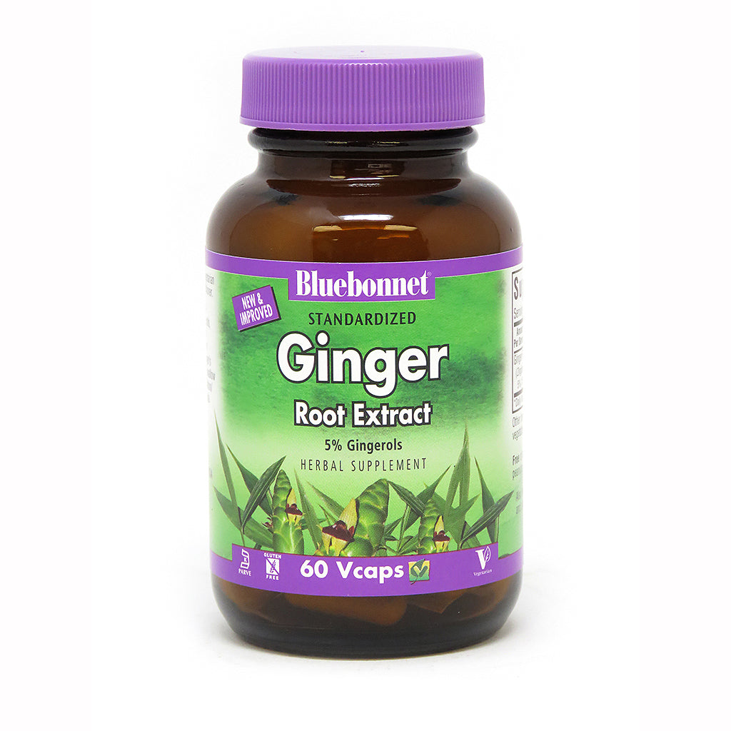 A bottle of Bluebonnet Ginger Root Extract