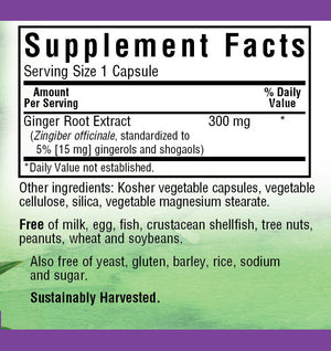 Supplement Facts for Bluebonnet Ginger Root Extract