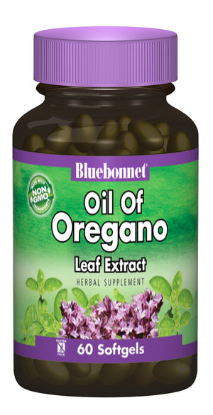 A bottle of Bluebonnet Oil Of Oregano Leaf Extract