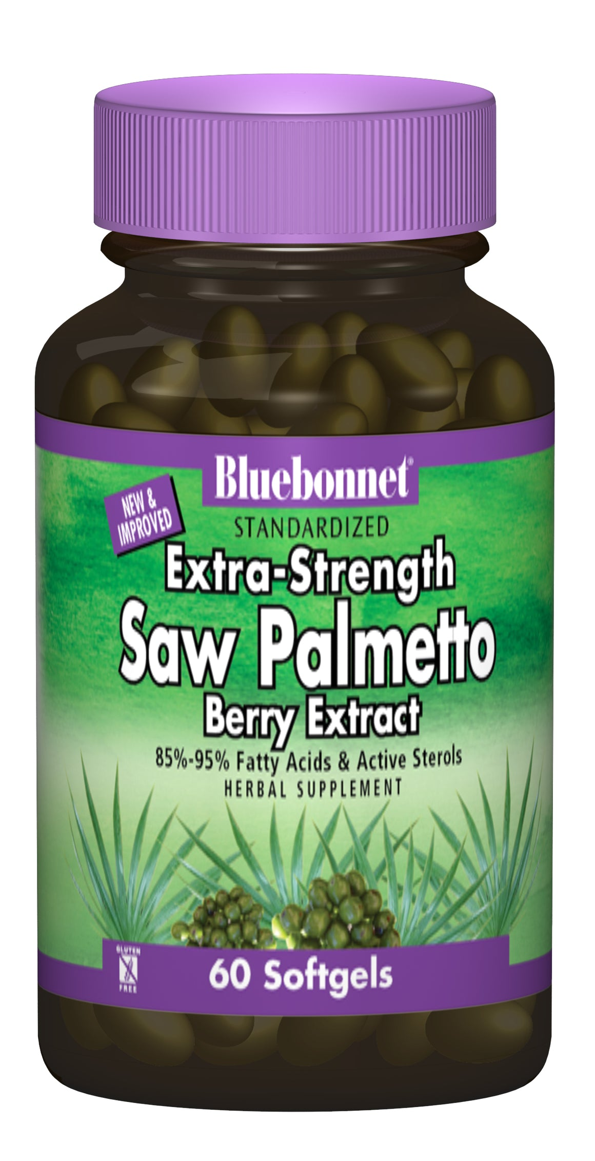 A bottle of Bluebonnet Extra-Strength Saw Palmetto Berry Extract
