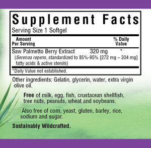 Supplement Facts for Bluebonnet Extra-Strength Saw Palmetto Berry Extract