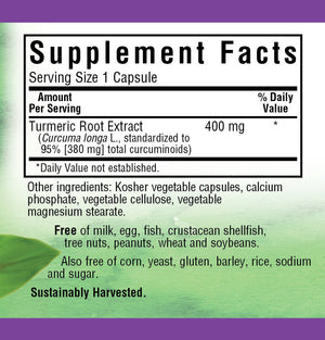 Supplement Facts for Bluebonnet Turmeric Root Extract