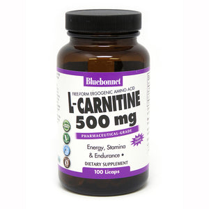 A bottle of Bluebonnet L-Carnitine 500 Mg