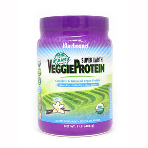 A jar of Bluebonnet Super Earth® Organic VeggieProtein™ Powder Vanilla