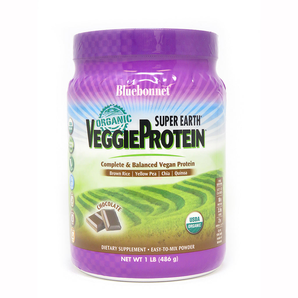 A bottle of Bluebonnet Super Earth® Organic VeggieProtein™ Powder Chocolate