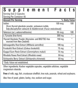 Supplement Facts for Bluebonnet Targeted Choice® Thyroid Boost