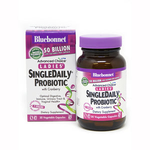 The package and bottle for Bluebonnet Ladies SingleDaily Probiotic