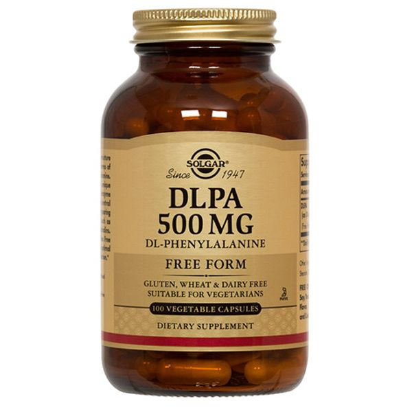 A bottle of Solgar DLPA 500 mg