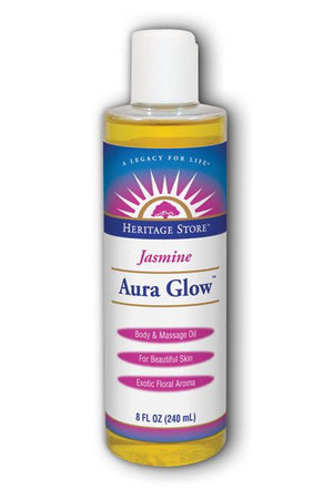A bottle of Heritage Store Aura Glow Jasmine 8 oz