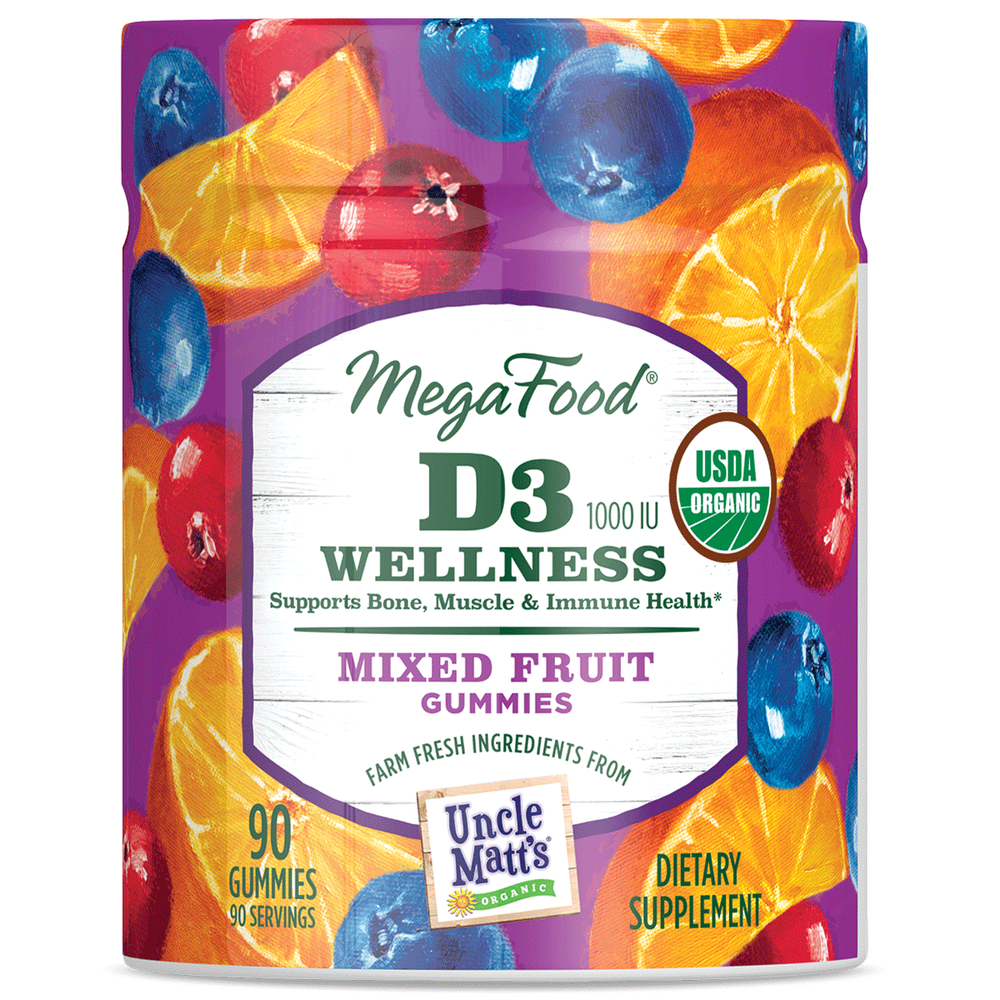 A jar of Megafood Gummy D3 (1000 IU) Wellness - Mixed Fruit