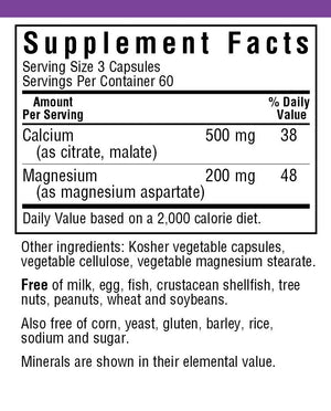 Supplement Facts for Bluebonnet Calcium Plus Magnesium Capsules