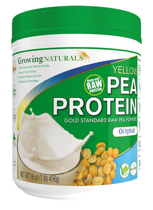 A jar of Growing Naturals Pea Protein Original Unflavored 1lb Canister