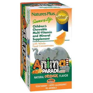A package for Nature's Plus Animal Parade® Children's Chewable Multi Orange