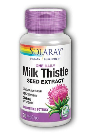 A bottle of Solaray Milk Thistle Seed Extract One Daily