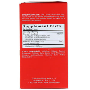 Back of package with supplemental facts for Natrol Shen Min Hair Nutrient Original Formula