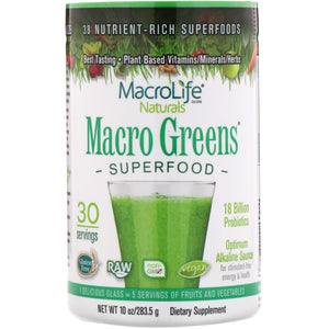 A jar of MacroLife Naturals Macro Greens - 30 servings