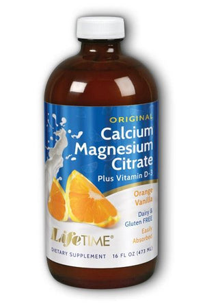 A bottle of Calcium Magnesium Citrate Plus Vitamin D3 16 fl oz Orange
