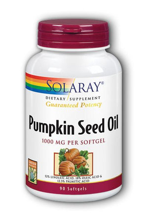A bottle of Solaray Pumpkin Seed Oil