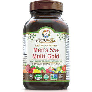 A bottle of NutriGold Men's 55+ Multi Gold
