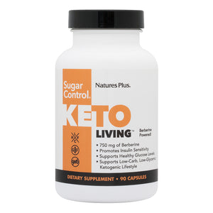 A jar of Nature's Plus KetoLiving™ Sugar Control Capsules
