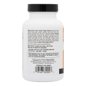 Side of jar with additional information for Nature's Plus KetoLiving™ Sugar Control Capsules
