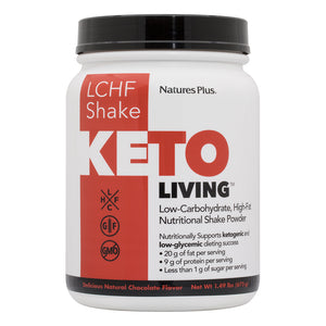 A jar of Nature's Plus KetoLiving™ LCHF Chocolate Shake