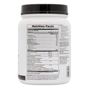 Side of jar with Nutritional facts for Nature's Plus KetoLiving™ LCHF Chocolate Shake