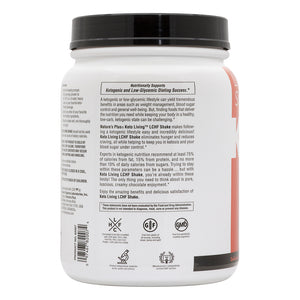 Side of jar with additional information for Nature's Plus KetoLiving™ LCHF Chocolate Shake