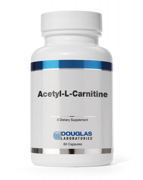 A white pill bottle with a colorful blue label that reads Douglas Labratories Acetyl L-Carnitine