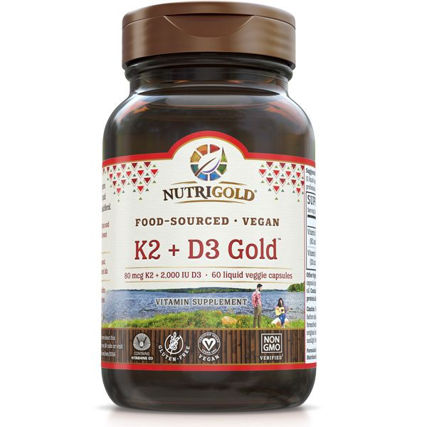 A bottle of NutriGold K2 + D3 Gold