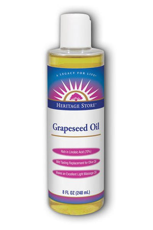 A bottle of Heritage Store Grapeseed Oil