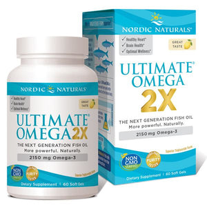 A bottle and package of Nordic Naturals Ultimate Omega 2X