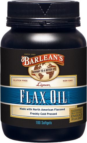 A bottle of Barleans Lignan Flax Oil