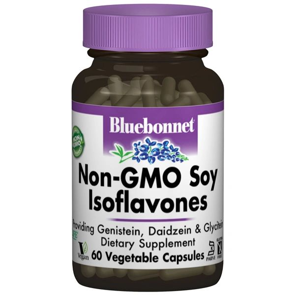 A bottle of Bluebonnet Non-GMO Soy Isoflavones