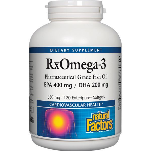 A bottle of Natural Factors RxOmega-3 EPA 400 mg/DHA 200 mg