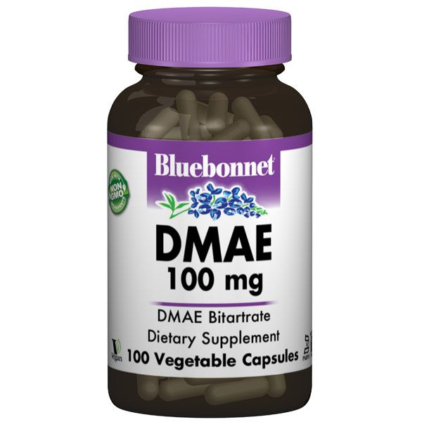 A bottle of Bluebonnet DMAE 100 mg