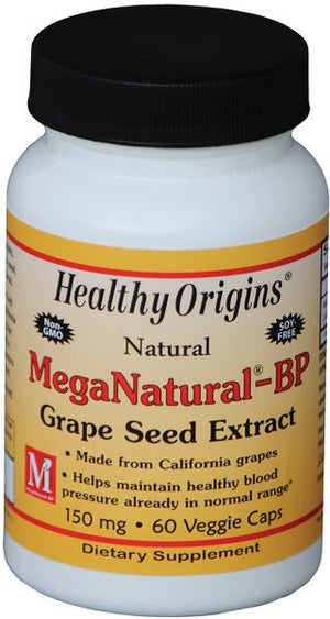 A bottle of Healthy Origins MegaNatural® BP-Grape Seed Extract 150 mg