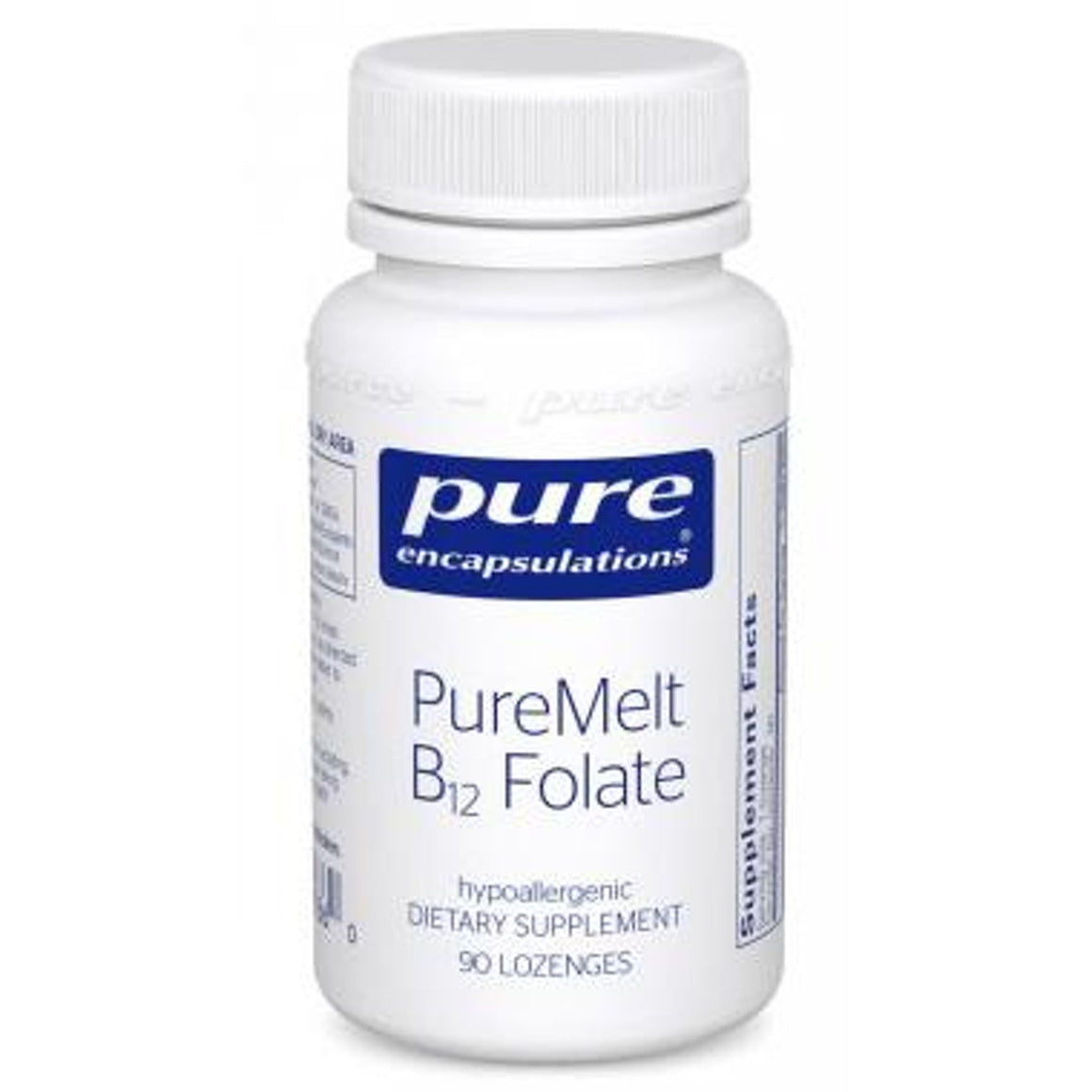 A bottle of Pure PureMelt B12 Folate