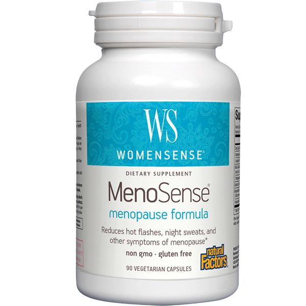 A bottle of Natural Factors WomenSense® MenoSense®