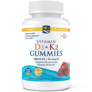 A bottle of Nordic Naturals Vitamin D3+K2 Gummies
