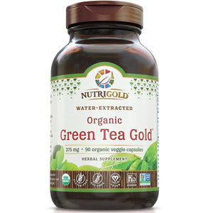 A bottle of NutriGold Green Tea Gold