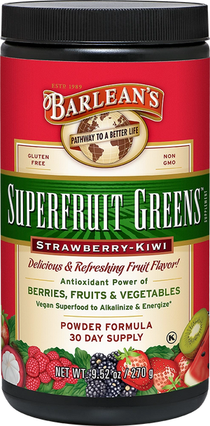 A jar of Barleans Superfruit Strawberry Kiwi Greens™ Powder