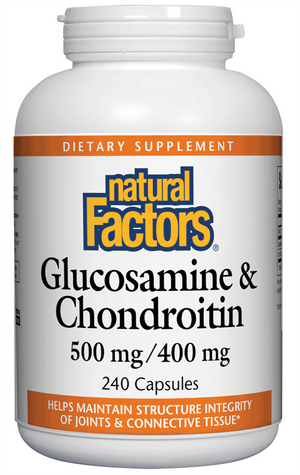 A bottle of Natural Factors Glucosamine & Chondroitin 500 mg Glucosamine · 400 mg Chondroitin
